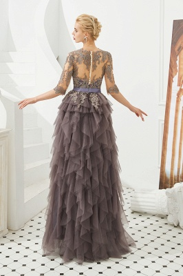 Elegant Jewel Half Sleeves Ribbon Belt A-line Lace Tulle Prom Dresses_7