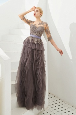 Elegant Jewel Half Sleeves Ribbon Belt A-line Lace Tulle Prom Dresses_6