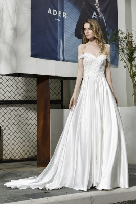 Cheap A Line Off the Shoulder Lace Satin White Wedding Gowns_2