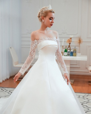 Off the Shoulder Long Sleeves Lace Up Floor Length A-line Lace Wedding Dresses_21
