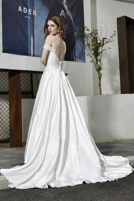 Cheap A Line Off the Shoulder Lace Satin White Wedding Gowns_12