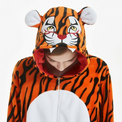 Lovely Adult Tiger Onesies Pajamas for Women_17