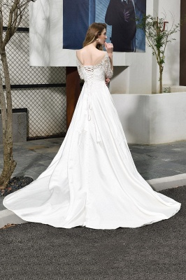 Glamorous 3/4 Sleeves Floor Length Length A-Line Lace Wedding Dresses_3