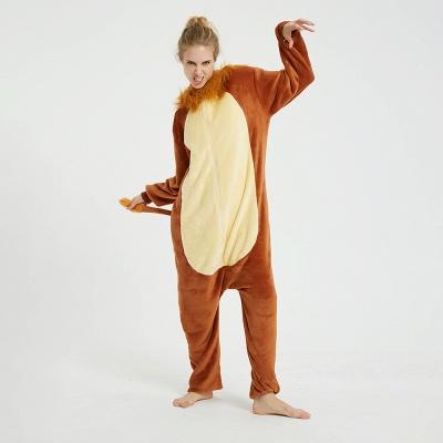 Cute Animal Pyjamas for Women Lion Onesies, Brown_3