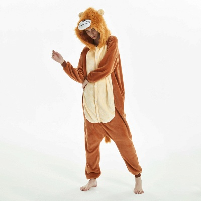 Super Soft Adult Lion Brown Onesies Pajamas for Girls_15