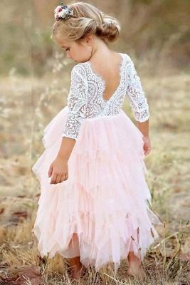 Cute Long Sleeves Jewel Tea Length Lace Tulle Flower Girl Dresses_2