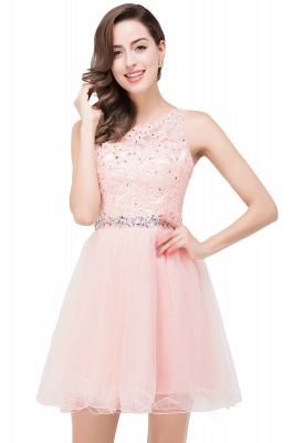 Cheap A-line Knee-length Tulle Prom Dress with Appliques in Stock_1