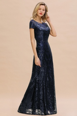 Bateau Short Sleeves Long Sequins Prom Dresses   Floor Length Fitted Evening Dresses_11