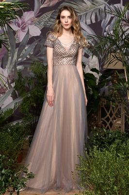 Elegant Short Sleeve Beading Floor Length a line prom dresses  Scaoop cheap graduation dress_7