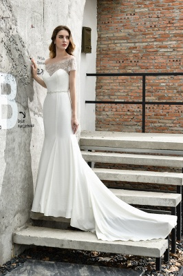 Gorgeous Off the Shoulder Affordable Ivory Mermaid Lace Wedding Dresses_4