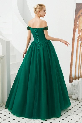 Off the Shoulder Sweetheart Jade A-line Long Prom Dresses | Elegant Evening Dresses Cheap_10