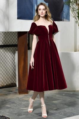 Burgundy Flare Sleeve Deep V Neck Tea Length A Line Prom Dresses | Ruffles Evening Dresses_4