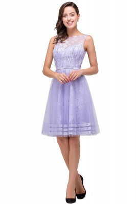 2019 Lavender Short Lace A-Line Sleeveless Mini Homecoming Dress_2