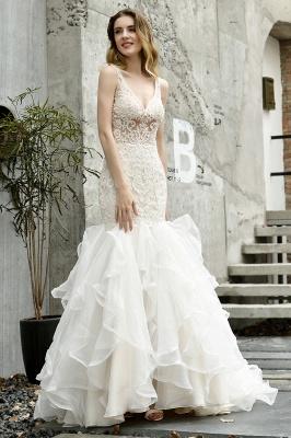 Wholesale Long Mermaid Lace Organza Wedding gowns Ruffles Train_3