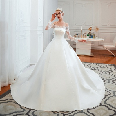 Off the Shoulder Long Sleeves Lace Up Floor Length A-line Lace Wedding Dresses_4