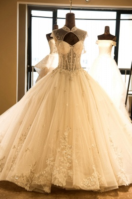 Glamorous High Neck Lace-up Tulle Wedding Dress   Haute Couture Bridal Gowns Series_1