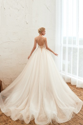 Gorgeous Spaghetti Straps V-neck Floor Length A-line Lace Tulle Wedding Dresses_15