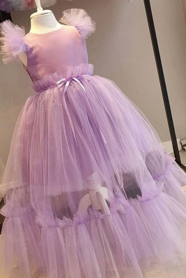 Jewel Cap Sleeves Ribbon Belt Tulle Long Flower Girl Dresses_1