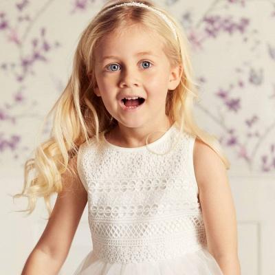 Jewel Sleeveless Tea Length Lace Tulle Flower Girl Dresses | Dress for Flower Girls_3