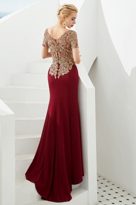 Bateau Short Sleeves Applique Fitted Long Prom Dresses | Burgundy Evening Dresses_3
