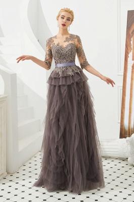 Elegant Jewel Half Sleeves Ribbon Belt A-line Lace Tulle Prom Dresses_5