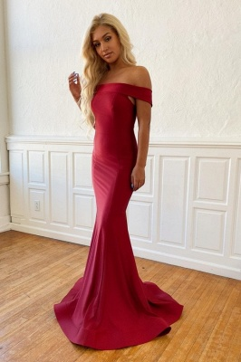 Burgundy Off the Shoulder Mermaid Long Prom Dresses | Sexy Evening Dresses_1