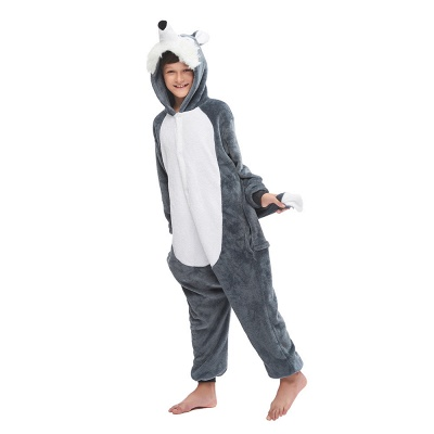 Cute Animal Pyjamas for Boys Huskie Onesie, Dark Grey_2