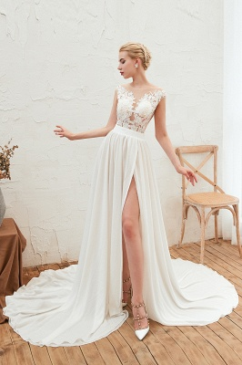 Jewel Cap Sleeves Sheer Sweep Train A-line Appliques Chiffon Wedding Dresses_5