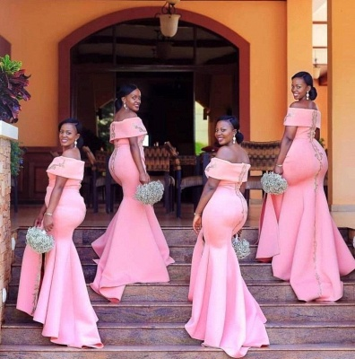 Pink Off The Shoulder Applique Side Slit Mermaid Bridesmaid Dresses For Wedding Party_4