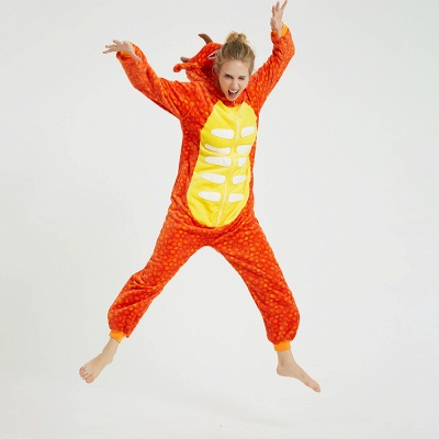 Adorable Adult Pyjamas for Women Triceratops Onesie, Orange_9