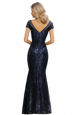 Bateau Short Sleeves Long Sequins Prom Dresses   Floor Length Fitted Evening Dresses_17