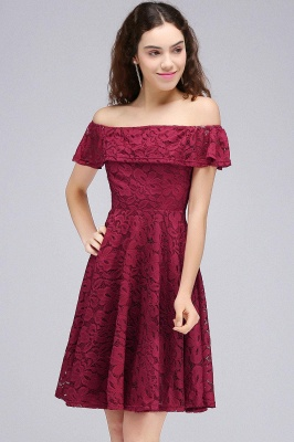 Cheap A-Line Off-the-shoulder Lace Burgundy Homecoming Dress in Stock_3