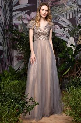 Elegant Short Sleeve Beading Floor Length a line prom dresses  Scaoop cheap graduation dress_8