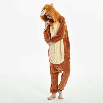 Super Soft Adult Lion Brown Onesies Pajamas for Girls_14
