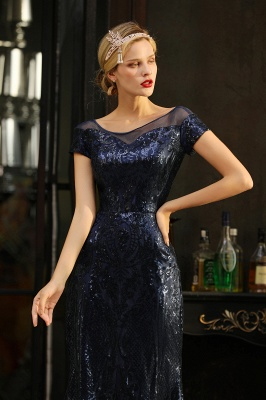 Bateau Short Sleeves Long Sequins Prom Dresses   Floor Length Fitted Evening Dresses_4