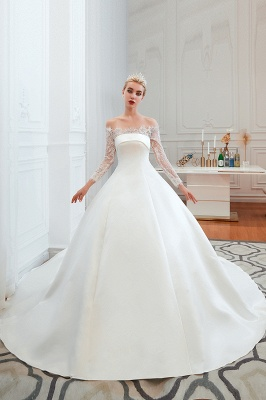 Off the Shoulder Long Sleeves Lace Up Floor Length A-line Lace Wedding Dresses_10
