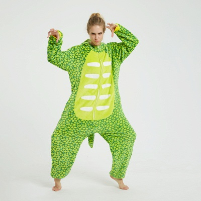 Cute Animal Pyjamas for Women Triceratops Onesie, Green_3