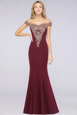 Simple Off the Shoulder Appliques Fitted Floor Length Evening Gown_34