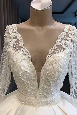 Princess V Neck Long sleeve Beading Pearls Sequin Ball Gown Wedding Dresses |  Puffy Illusion Back Bridal Gown_4