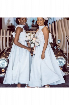 Tea Length A-line Sleeveless Elegant Bridesmaid Dresses | Affordable Maid of Honor Dresses_11