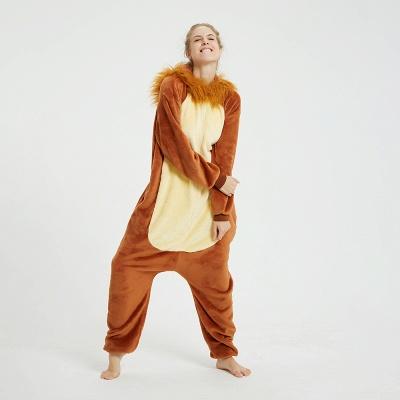 Cute Animal Pyjamas for Women Lion Onesies, Brown_5