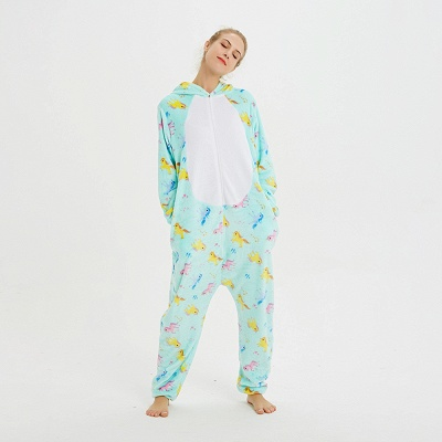 Cute Animal Pyjamas for Women Triceratops Onesie, Green_12