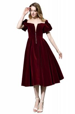 Burgundy Flare Sleeve Deep V Neck Tea Length A Line Prom Dresses | Ruffles Evening Dresses_8