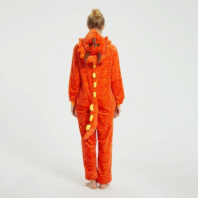 Adorable Adult Pyjamas for Women Triceratops Onesie, Orange_4