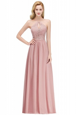 A-line Keyhole Neckline Lace Top Long Spaghetti Bridesmaid Dress In Stock_1