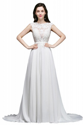 A-line Scoop Modest Wedding Dress With Lace Appliques_1