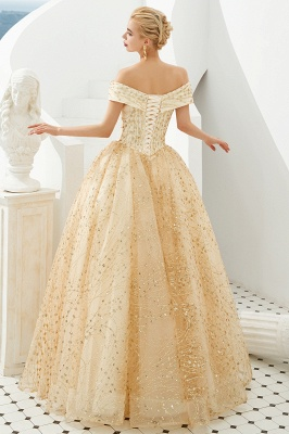 Off the Shoulder A-line Long Lace Beaded Prom Dresses |  Floor Length Evening Dresses_3