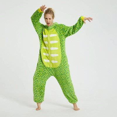 Cute Animal Pyjamas for Women Triceratops Onesie, Green_5