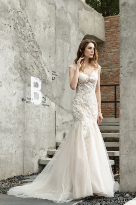 Gorgeous Floor Length  Lace Tulle Wedding Dresses Mermaid_8