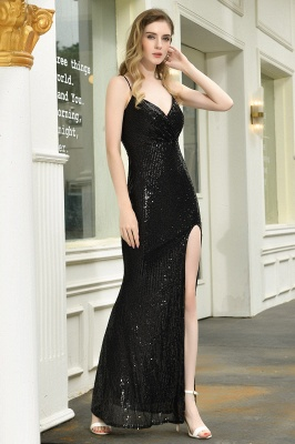 Black Spaghetti Strap V Neck Sequined Front Slit Floor Length Sheath Prom Dresses | Backless Evening Gown_4